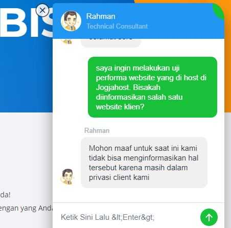 live chat dengan tim support hosting